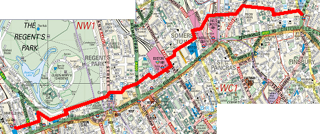 Walking/cycling route Angel to Marylebone